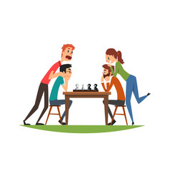 two man playing chess with their girlfriends vector image
