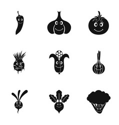 vegetables face icon set simple style vector image