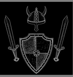 Viking warrior set - shield swords and horned vector