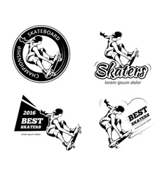 Vintage skateboarding labels logos and badges vector image