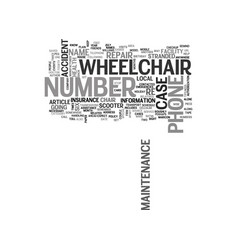 Wheelchair maintenance tips text word cloud vector