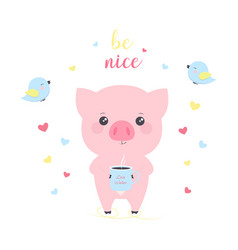 with cartoon pigs vector image
