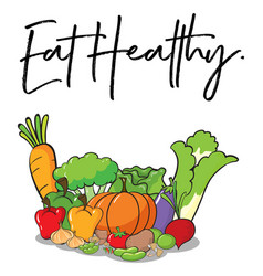 Word expression for eat healthy with fresh vector