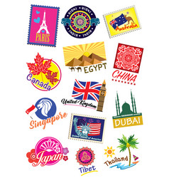 World country travel landmark label set vector