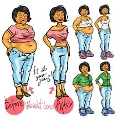 Young woman before and after weight loss vector
