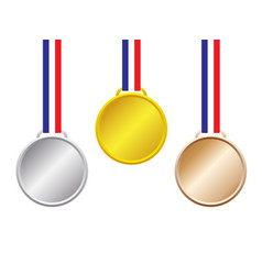 gold silver bronze medals vector image vector image