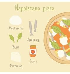 Napoletana pizza ingredients vector image vector image