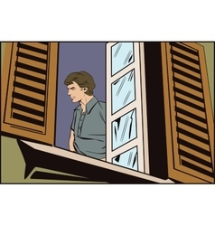 People in retro style The man in the window vector image vector image