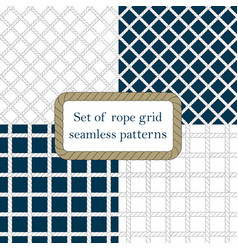 set of nautical rope seamless fishnet patterns vector image