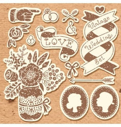 Wedding set of vintage design elements vector image