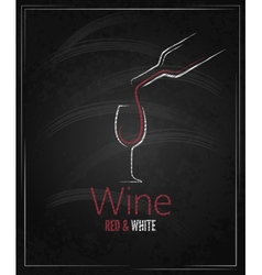 wine glass chalkboard menu background vector image