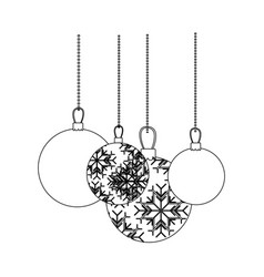 figure christmas balls hanging icon vector image vector image