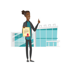 young african-american man holding a certificate vector image