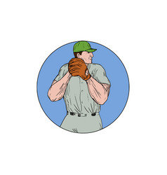 baseball pitcher starting to throw ball circle vector image vector image