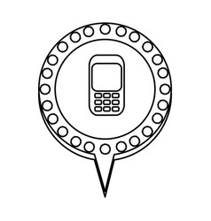 monochrome silhouette of cell phone in circular vector image vector image