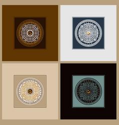 round calligraphic emblem set floral vector image