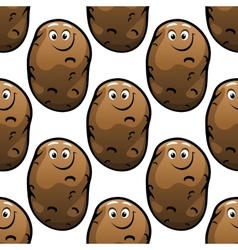 Seamless pattern of cartoon potatoes vector image vector image