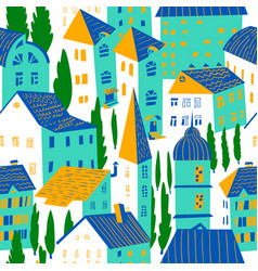 seamless pattern with houses cute city vector image vector image
