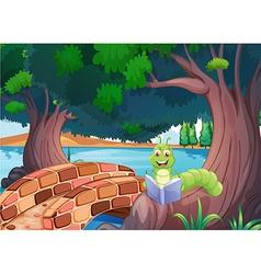 A worm reading a book near the bridge vector image vector image