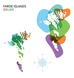 Abstract color map of Faroe Islands vector image