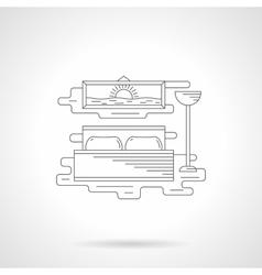 Bedroom interior flat line icon vector image
