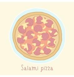 Salami pizza vector image vector image