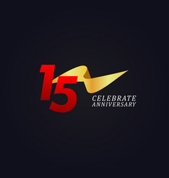 15 years anniversary celebration elegant gold vector