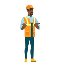 african confused builder shrugging shoulders vector image