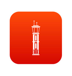 airport control tower icon digital red vector image