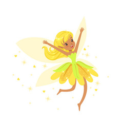 beautiful smiling yellow fairy girl flying vector image