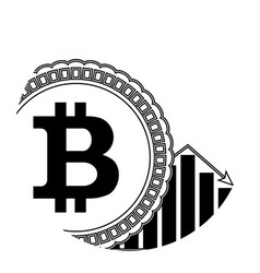 bitcoin down price linear icon vector image