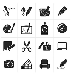 Black Graphic and web design icons vector