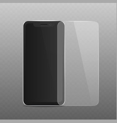 black phone mockup with layer screen protector vector image