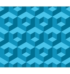 Blue cubic geometric seamless pattern vector