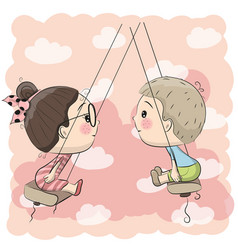 Boy and girl on the swing vector