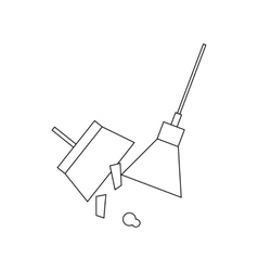 Broom and dustpan icon outline style vector