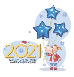 bull santa claus new year 2021 merry christmas vector image