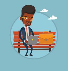 businessman working on laptop outdoor vector image