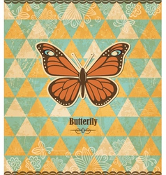 Butterfly vintage mosaic pattern vector image