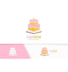 Cake and open book logo combination pie vector