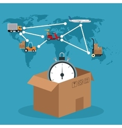 Cardboard box clock connection global delivery vector