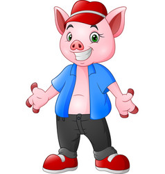cartoon pig wearing a blue clothes and red hat vector image