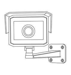Cctv security camera front view outline drawing vector
