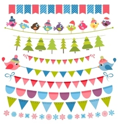 Christmas colorful flags and garlands set vector image