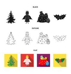 christmas tree angel gifts and holly blackflat vector image