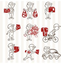 Courier with boxes and vehicles two coloring line vector image