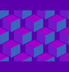 cubes pop art seamless pattern in purple dotted vector image