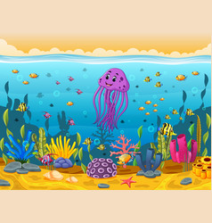cute squid under the sea vector image