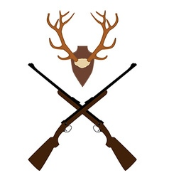 Deer horns and rifle vector