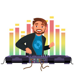 dj playing disco house music stylish man vector image